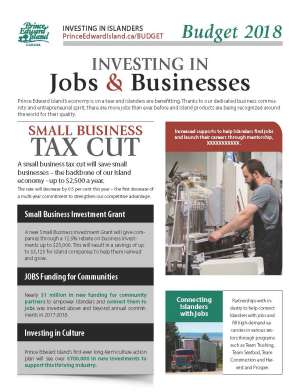 2018 PEI Budget Highlights on Jobs and Businesses thumbnail