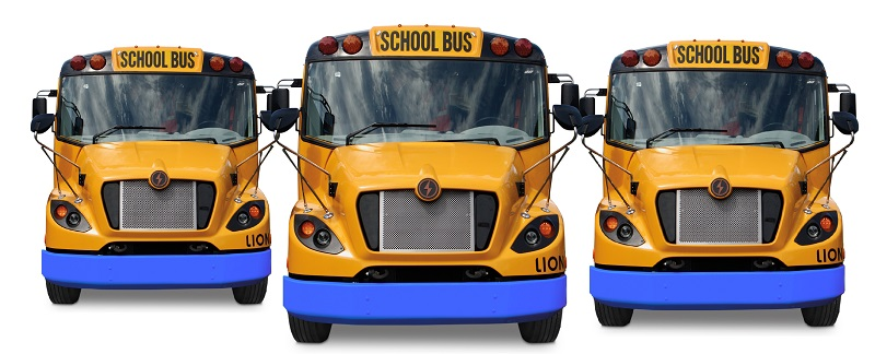 Image of three electric school buses