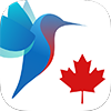 Image of blue and red hummingbird and maple leaf - CanImmunize smartphone app logo