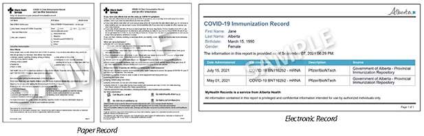 Alberta Sample of Proof of Vaccination Records