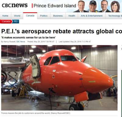 Image of airplane in aerospace company hanger in PEI