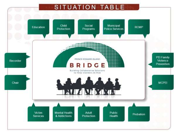 A graphic that names the service providers and also indicates that a recorder and chairperson make up the Bridge Situation Table