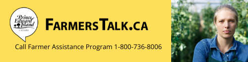 A graphic with text: FamersTalk.ca and call the Farmers Assistance Program at 1-800-736-8006