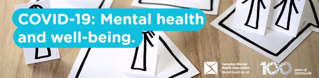 "banner image of Canadian Mental Health Assoc, with text ""COVID-19 and mental health and well-being"""