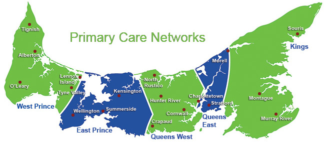 Map of Prince Edward Island showing the areas included in each Primary Care Network: West Prince includes: Tignish, Alberton, O'Leary, Lennox Island, and Tyne Valley.East Prince includes Wellington, Summerside, and Kensington. Queens West includes Crapaud, North Rustico, Hunter River, Cornwall, and some areas of Charlottetown.Queens East includes some areas of Charlottetown, Stratford, and Morell. Kings includes Montague, Murray River, and Souris.