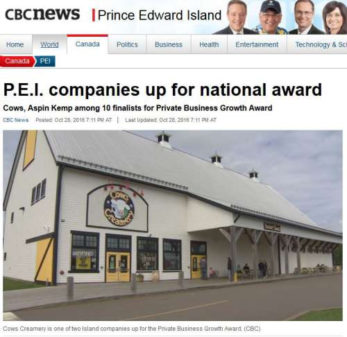 Screen capture of cbc.ca website that shows image of exterior of Cows Creamery in North River