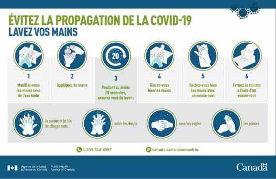 Évitez la propagation de la COVID-19 : Lavez vos mains