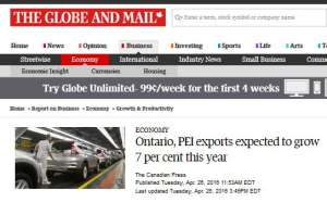 Screen capture of Globe and Mail web page about PEI export growth