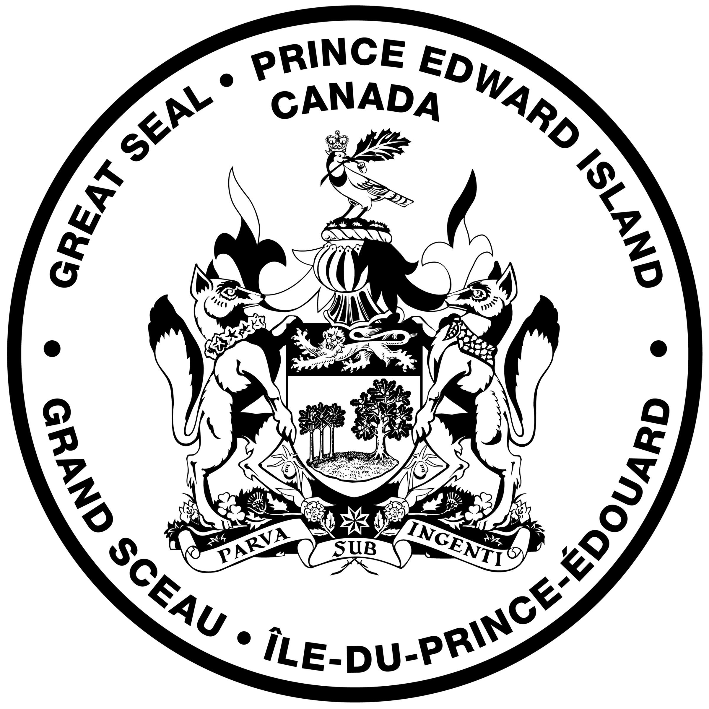 black and white image of the Great Seal of PEI