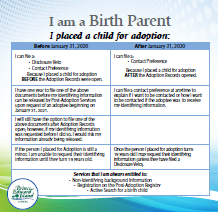 A flowchart to assist birth parents with process for PEI Open Adopton Records