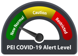 """Graphic image of gauge titled """"PEI COVID-19 Alert Level"""" that show arrow pointing to green. There is also a yellow caution level and red restricted level."""