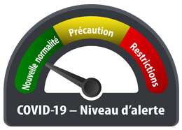 "Graphic image of guage titled : ""COVID-19 Niveau D'alerte"""