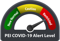 COVID-19 alert level graphic for Prince Edward Island
