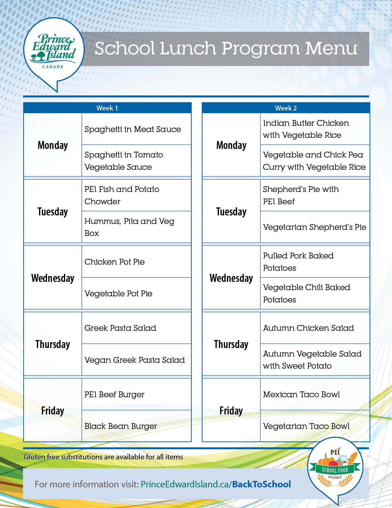 Healthy School Lunch Program Menu