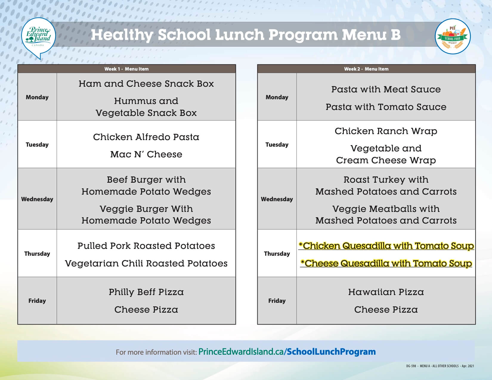 Healthy School Food Program Menu for Kinkora, Amherst Cove, Somerset and Englewood