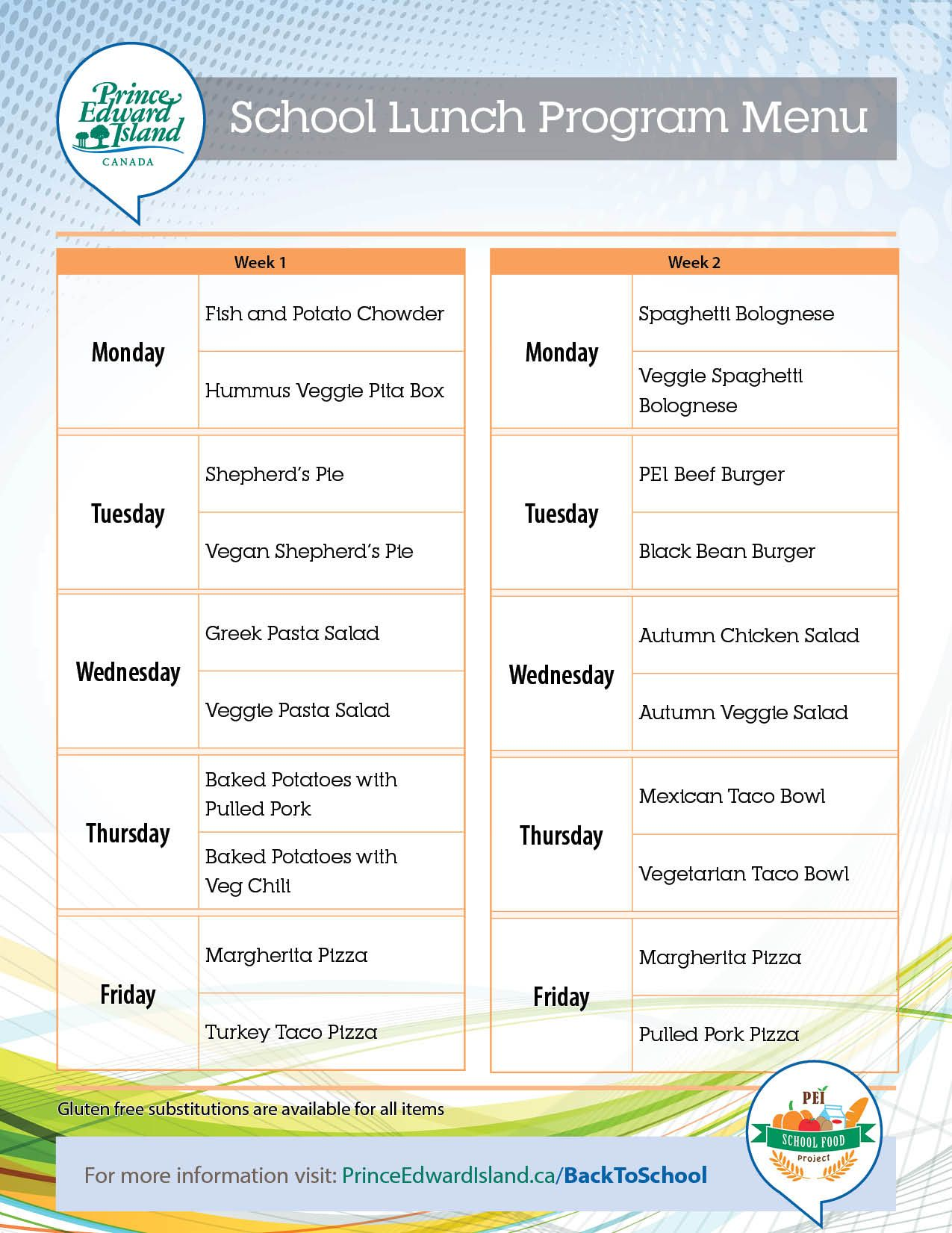 Healthy School Lunch PProgram Menu