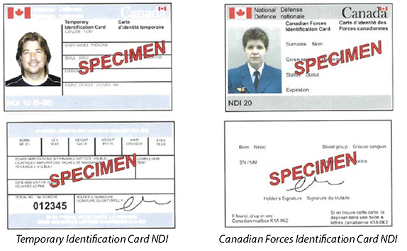 Canadian Department of National Defence Sample of Proof of Vaccination Records