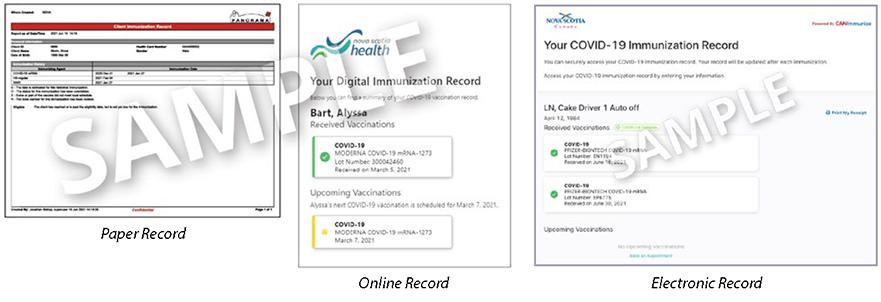 Nova Scotia Sample of Proof of Vaccination Records