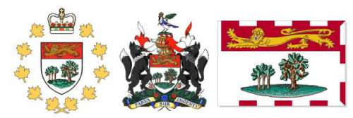 From left to right: Lieutenant Governor's emblem, Coat of Arms and PEI provincial flag