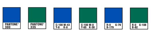 Pantone charts for blue and green corporate colours