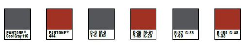 Pantone charts for rust and gray corporate colours