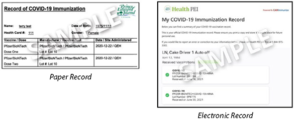 Prince Edward Island Sample of Proof of Vaccination Records