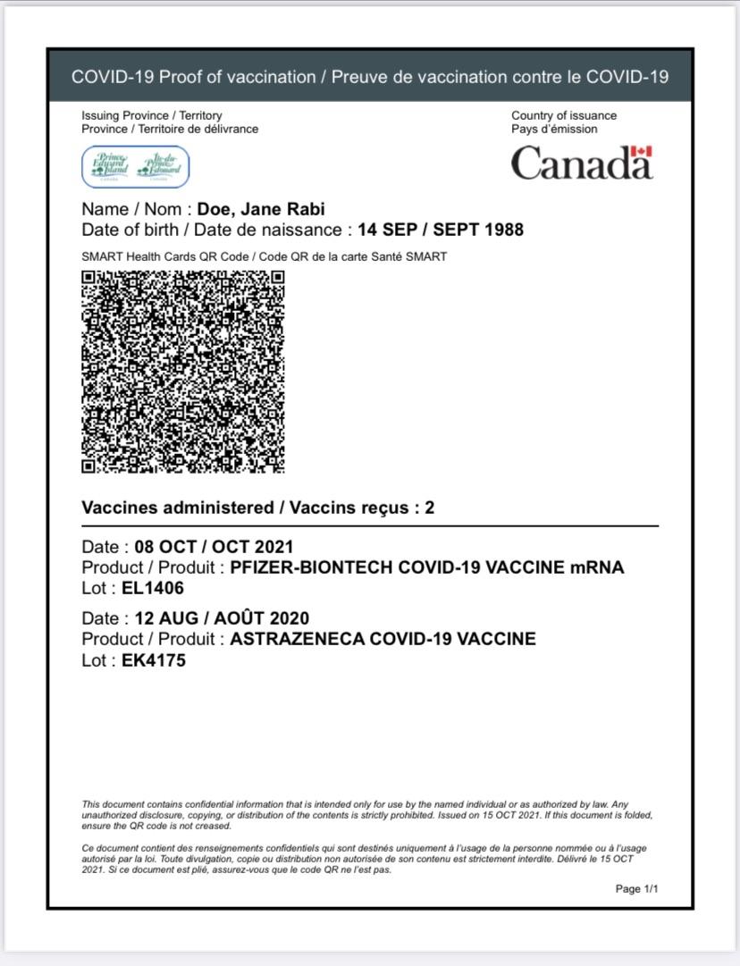 sample of PEI Vax Pass