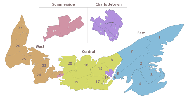 A map of PEI showing the province split into the 27 West, Central, and East districts with an enlarged view of Charlottetown and Summerside.