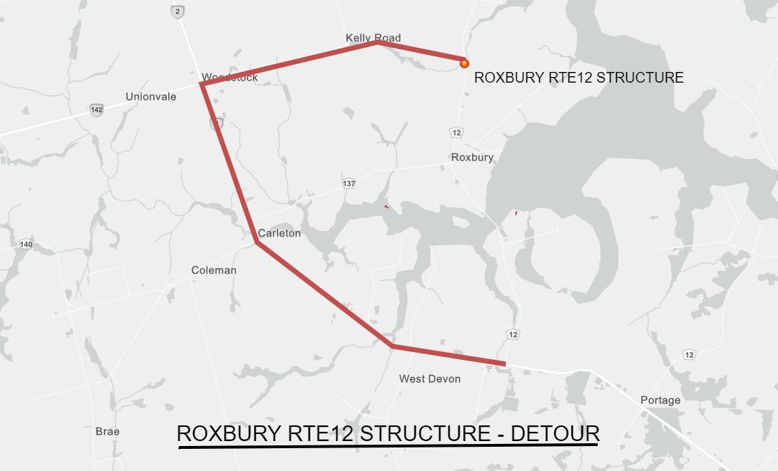 Map showing Roxbury Rte 12 detour route