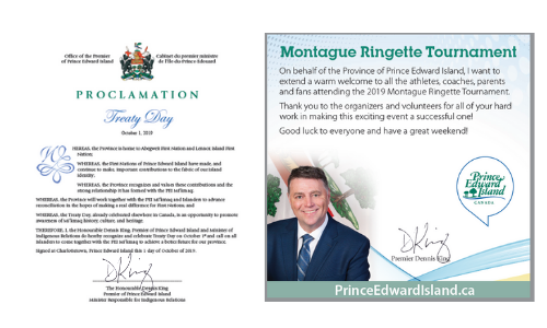 Capture of sample declaration and congratulatory message from Office of the Premier of PEI