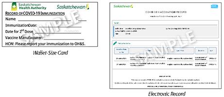 Saskatchewan Sample of Proof of Vaccination Records