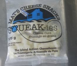 Package of 'Squeakies' cheese curd of PEI