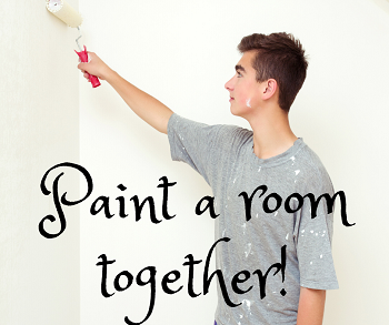 """Image of a person painting with the text """"Paint a room together"""""""