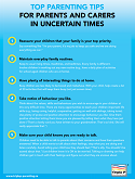 Thumbnail image of Top Parenting Tips for Parents and Carers in Uncertain Times information sheet