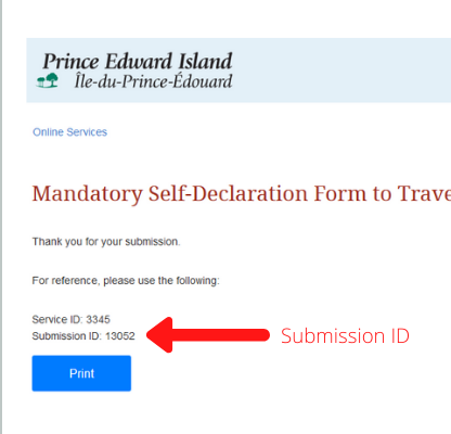 Screen shot of PEI Self-Declaration Travel Form Submission ID page - Atlantic Travel Bubble