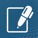 Icon showing pen and paper