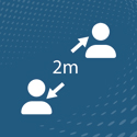 Icons showing two people standing two meters apart