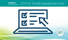 Image showing a computer and the text COVID-19 Self Assessment Tool