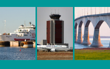 Graphic with image of PEI ferry, airport and Confederation Bridge
