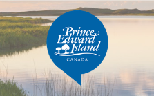 Government of Prince Edward Island wordmark in blue bubble