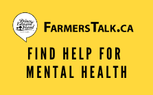 "Yellow box with text that reads""FarmersTalk.ca - Find help for mental health."