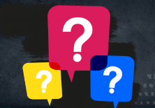 Graphic with question mark icons