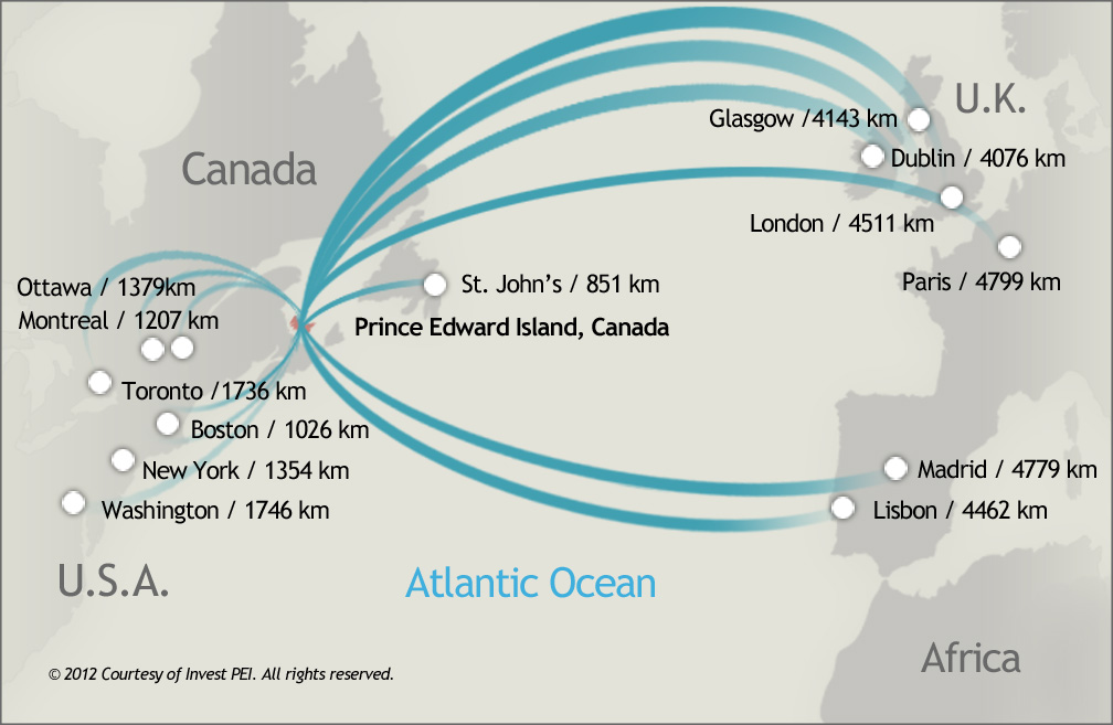 map of PEI and marked distances