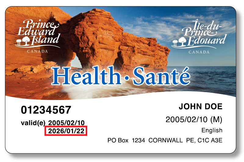 PEI Health card with coastal view