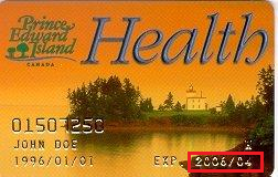 PEI Health Card with orange sunset background