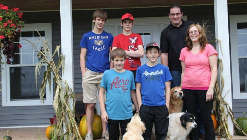 Foster parents Kendell and Denise Docherty with their boys Lawson, Thomas, Sammy, and Sumner.