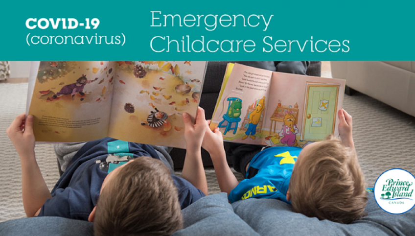 """Image that shows two children reading on the floor with the text """"Emergency Childcare Services - COVID-19"""""""