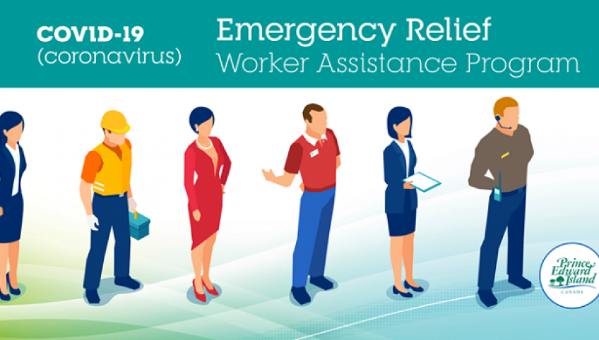 """Image that shows different people and it says """"Emergency Relief Worker Assistance Program - COVID-19"""""""