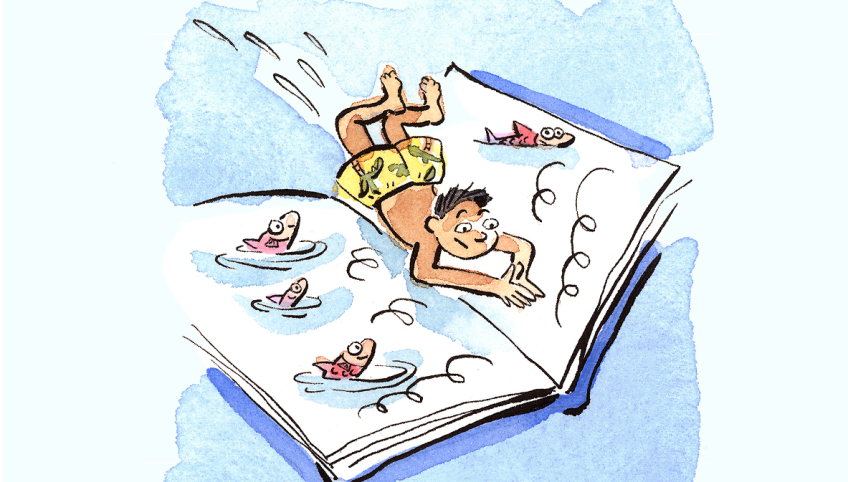 TD Summer Reading program illustration of a child reading