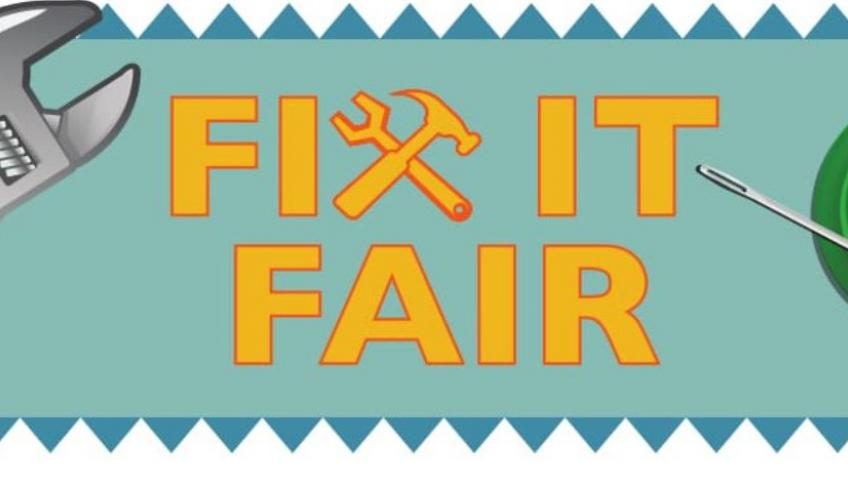 "Graphic image of wrench and needle and button with text ""Fix It Fair"""